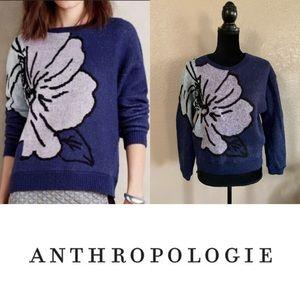 Anthropologie HWR monogram Mavales flower sweater